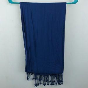Soft blue long scarf w/ tassels